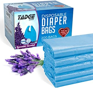 Tadge Goods Baby Disposable Diaper Bags – Biodegradable Diaper Sacks with Lavender Scent & Added Baking Soda to Absorb Odors - 200 Count (Blue)