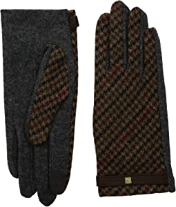 Houndstooth Plaid Touch Gloves