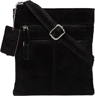 WildHorn Black Urban Edge Genuine Leather Cross Body Messenger Bag