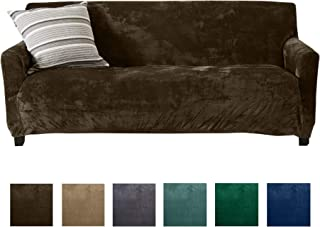 Great Bay Home Modern Velvet Plush Sofa Slipcover. Strapless One Piece Stretch Couch Cover. Sofa Cover for Living Room. Magnolia Collection Slipcover. (Sofa, Walnut Brown)