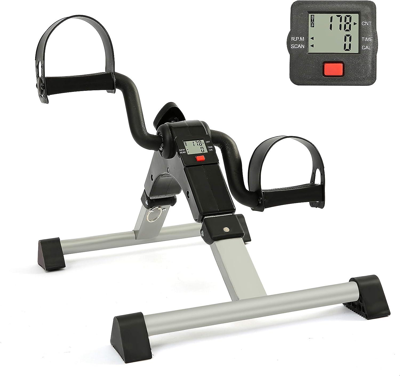 Folding Pedal Exerciser,Under Desk Exercise Mini Bike for Home and Office Fitness