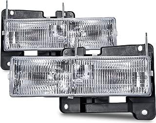 HEADLIGHTSDEPOT Chrome Housing Halogen Headlights Compatible with Chevrolet GMC Blazer C/K 1500 2500 3500 Suburban Tahoe Yukon Denali Includes Driver and Passenger Side Headlamps Comes with Bulbs