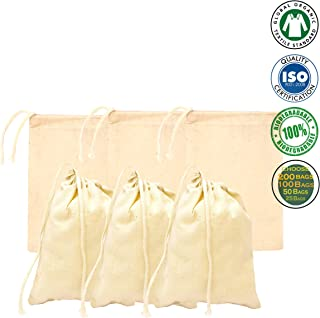 Size :8x12 inches,100% Organic Cotton Drawstring Bags Recyclable (Qty :100 Bags)