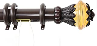 Rod Desyne Paradise Decorative Traverse Rod Set with Rings, 84 to 156-Inch, Cocoa