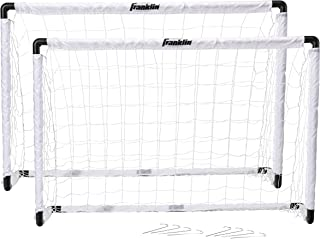 Franklin Sports Kids Soccer Goal Set - Portable Backyard Youth Soccer Goals - 2 Mini Soccer Goals with Ground Stakes - 54