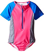 Speedo Kids - Short Sleeve Zip One-Piece Swimsuit (Little Kids)