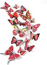 TUPARKA 36 stuks 3D vlinders decoratie vlinder wanddecoratie vlinder muursticker 3D wandtatoo vlinders balkon decoratie (r...
