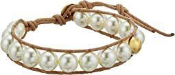 Chan Luu - Single Wrap Bracelet on Leather with Crystal Pearls