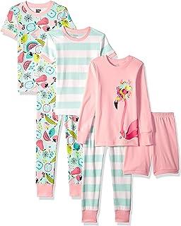 Amazon Brand - Spotted Zebra Girl's Snug-Fit Cotton Pajamas Sleepwear Sets