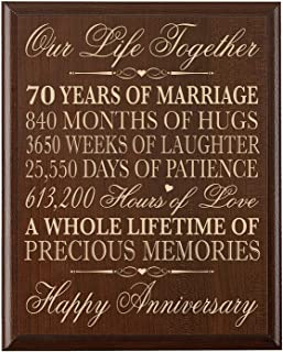 70th Wedding Anniversary Wall Plaque Gifts for Couple Parents, 70th for Her,him 70th Wedding for Him 12