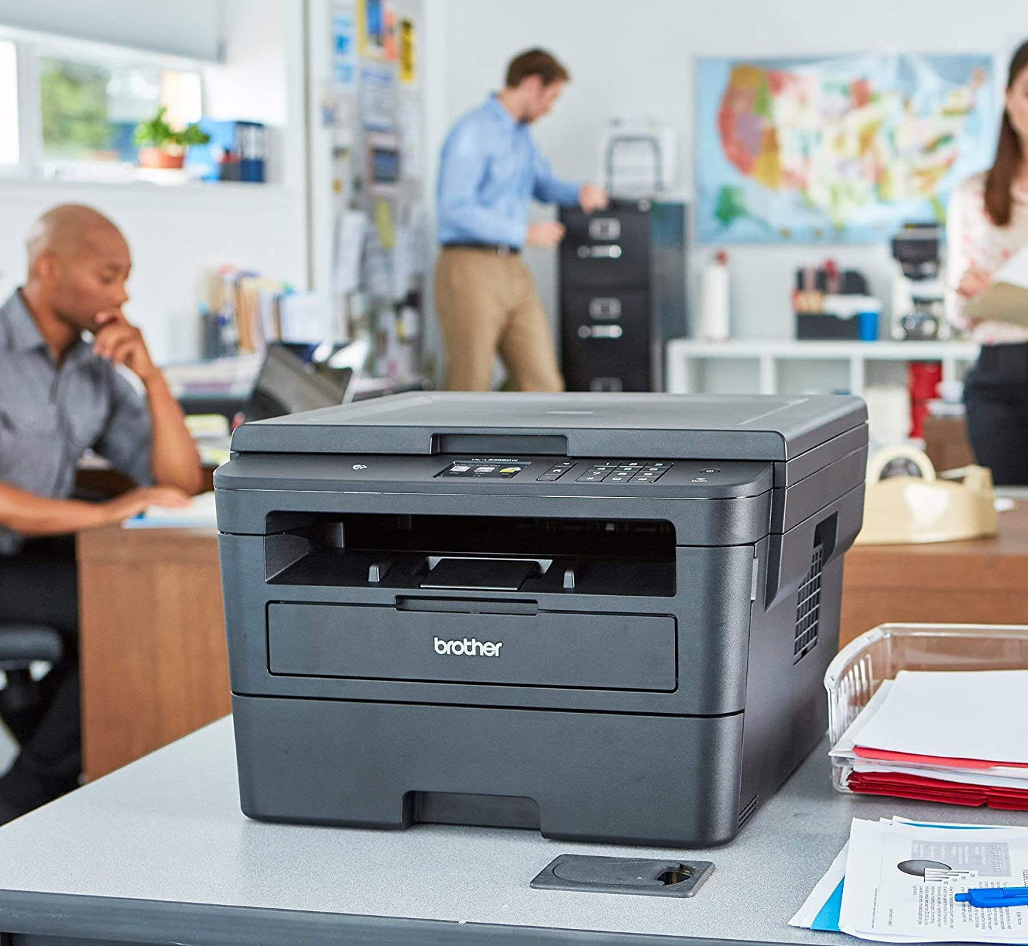 Brother Compact Monochrome Laser Printer, HLL2395DW, Flatbed Copy & Scan, Wireless Printing, NFC, Cloud-Based Printing & Scanning, Amazon Dash Replenishment Enabled (Renewed)
