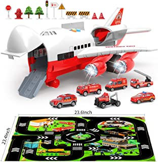 BeebeeRun Car Toys for Boys with Transport Cargo Airplane and Large Play Mat,6 Educational Vehicles Fire Trucks for Kids Toddlers,Gift for 3 4 5 6 Years Old,Large Plane 11 Road Signs