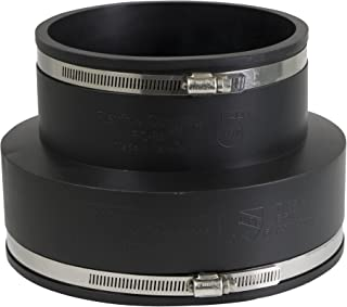 EVERCONNECT 4841 Flexible Pvc Reducing Rubber Coupling with Stainless Steel Clamps, 8 x 6 Inch, Black