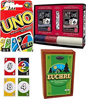 Cards are Wild Poker Dice & Classic Games Casino Chips / Authentic Playing Cards Triple Pack Big Shootout Games Uno Matching Colors & Numbers Family Fun Time Party Time Bundle 3 Items