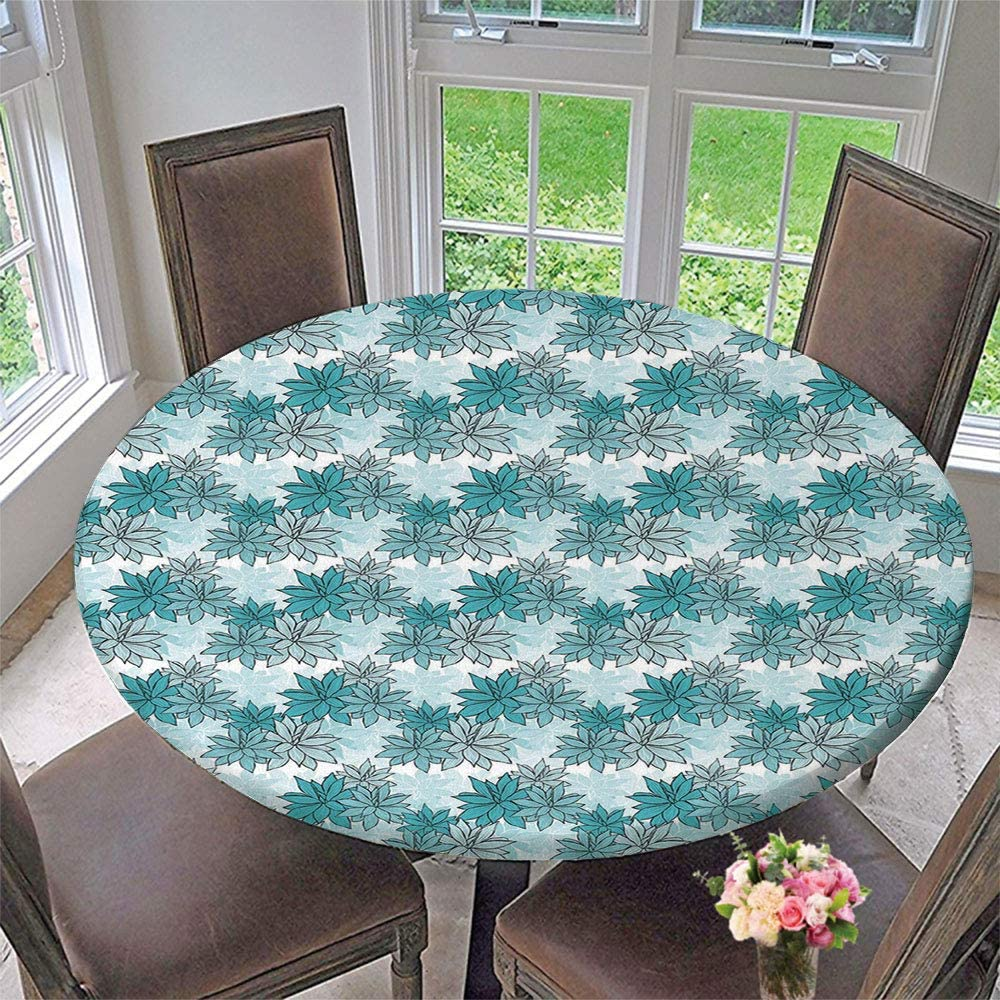 SUPNON Elastic Edged Polyester Table Cover Parties Decorative for Holiday Fit for 35-39 Table Special Occasions Diameter 47 Tablecloth Turkish Pattern Tiles of Pastel Colored AM032049