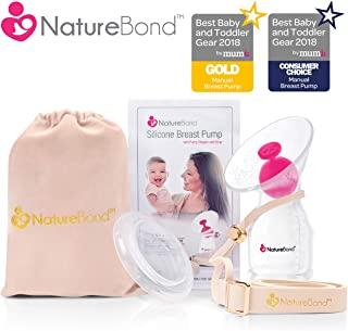 NatureBond Silicone Breastfeeding Manual Breast Pump Milk Saver Suction   All-in-1 Pump Strap, Stopper, Cover Lid, Carry Pouch, Air-Tight Vacuum Sealed in Hardcover Gift Box. BPA Free (Premium Pack)