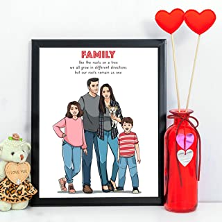 Customized Gifts For Men - Hand Drawn Unique Family Portrait - Personalized Birthday Ideas To Give Husband From Wife And Kids