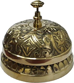 PARIJAT HANDICRAFT Victorian Style Service Desk Bell Ornate Solid Brass Hotel Counter Bell Desk Bell Service Bell for Hotels, Schools, Restaurants, Reception Areas, Hospitals, Warehouses