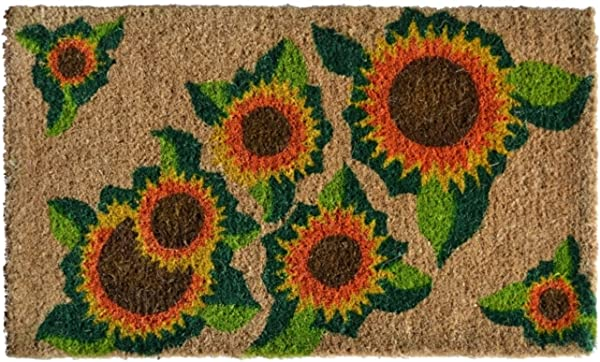 Imports Decor Printed Coir Doormat Happy Sunflower 18 Inch By 30 Inch