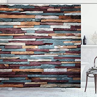 Ambesonne Urban Shower Curtain, Colored Stone Surface Texture Background Retro Style Urban Brick Wall Image, Cloth Fabric Bathroom Decor Set with Hooks, 75