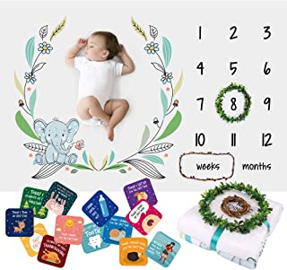 Baby Monthly Milestone Blanket for Boys Girls – Soft Fluffy Unisex Design – 60 x 40 in – 1 to 12 with Weeks and Months – Includes Wreath and String Markers, 18 Baby Milestone Cards and an e-Book