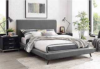 Amoret Grey Linen Platform Bed Queen Size