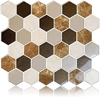 "HomeyMosaic Peel and Stick Backsplash Tile 3D Wall Silica Gel Vinyl Tiles for Home Decor, Stick on Kitchen Bathroom Back Splashes(5-Sheet,11""x9.4"",Hexagon Brown)"