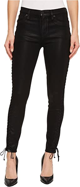 Stevie Mid-Rise Continuous Lace-Up Super Skinny in Black Coated