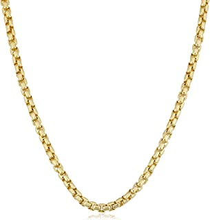 14k Yellow Gold Filled 3.5 mm Round Box Link Chain Necklace