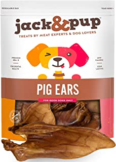 Jack&Pup Whole Pig Ears for Dogs - Extra Thick Large Pigs Ears - Premium Odor Free Dog Pig Ear Treats - Natural Dog Pork C...