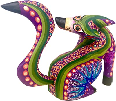 Mexican Alebrije Seated Coyote Wood Carving Handcrafted Sculpture (Purple)