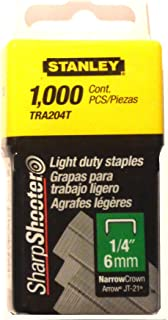Stanley Tra204T 1/4 Inch Light Duty Narrow Crown Staples, Pack of 1000 (2 pack)