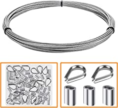 """HELIFOUNER Cable Railing Kits, 1/16"""" Stainless Steel Cable 33Ft with 50 PCS Aluminum Crimping Sleeves and 12 PCS Stainless Steel Thimbles"""