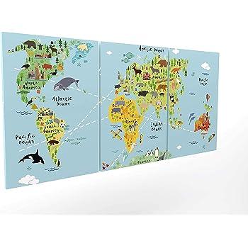 Panorama Composición Cuadro Lienzo Mapamundi Infantil en 3 Piezas 210x100cm - Impreso en Lienzo Bastidor de Madera - Cuadros Grandes XXL - Cuadros 3 Piezas - Cuadros Modernos: Amazon.es: Hogar
