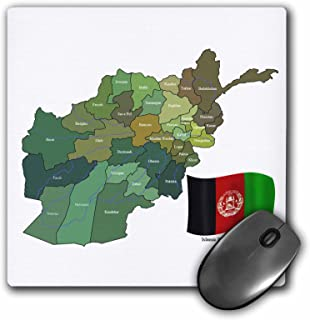 3dRose 8 x 8 x 0.25 Inches Mouse Pad, The Map and Flag of The Islamic Republic of Afghanistan with All The Provinces Marke...