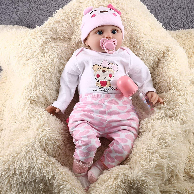 FayOK 55CM 6PCS Set Kids Reborn Baby Doll Vinyl Lifelike Newborn Doll Girl Best Gift