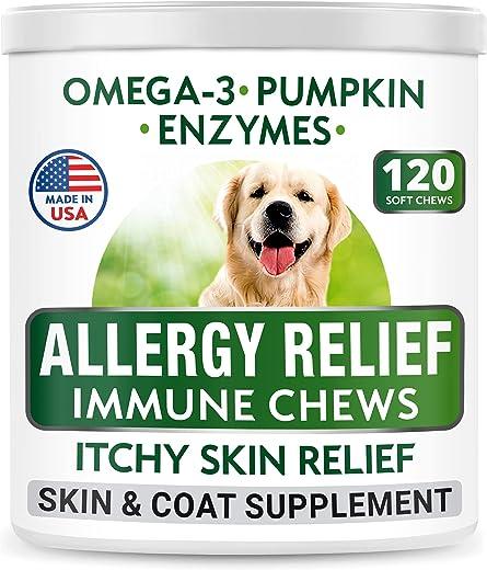 Bark&Spark Allergy Relief Dog Treats - Omega 3 + Pumpkin...
