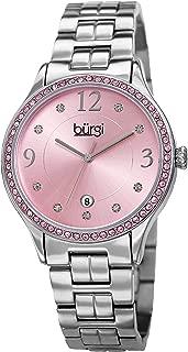 Burgi Women's Swarovski Crystal Pink Watch - 9 Swarovski Hour Markers, Crystals on Bezel with Date Window On Silver-Tone Bracelet - BUR180