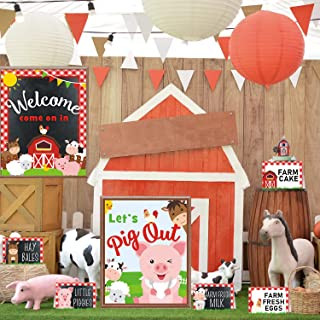 Farm Animal Party Food Labels Tent Cards Barnyard Theme Thank You Tags Welcome Pig Out Gift Table Sign Decoration Birthday...