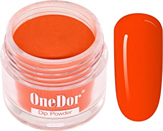 OneDor Nail Dip Dipping Powder – Acrylic Color Pigment Powders Pro Collection System, 1 Oz. (19 - Dark Orange Red)