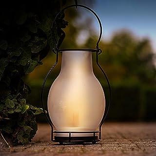 Lámpara solar LED decorativa exterior con efecto llama realista. Medidas 28 x Ø 20,5 cm. Diseño retro vintage de lámpara de aceite. Para uso en exterior. Resistencia al agua IP44.