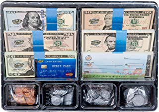 Learn & Climb Play Money Set for Kids – Realistic Dollar Bills, Coins, Credit &..