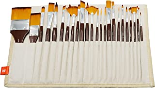 KINGART 210-24 24 PC Library in Canvas WRAP Paint Brush Set, Red/Silver/Gold