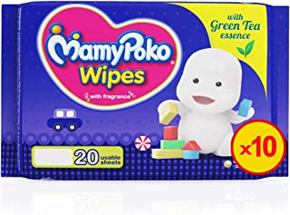 MamyPoko Wipes Mega Value Box, Pack of 10 x 20 Sheets, (200 Wipes)