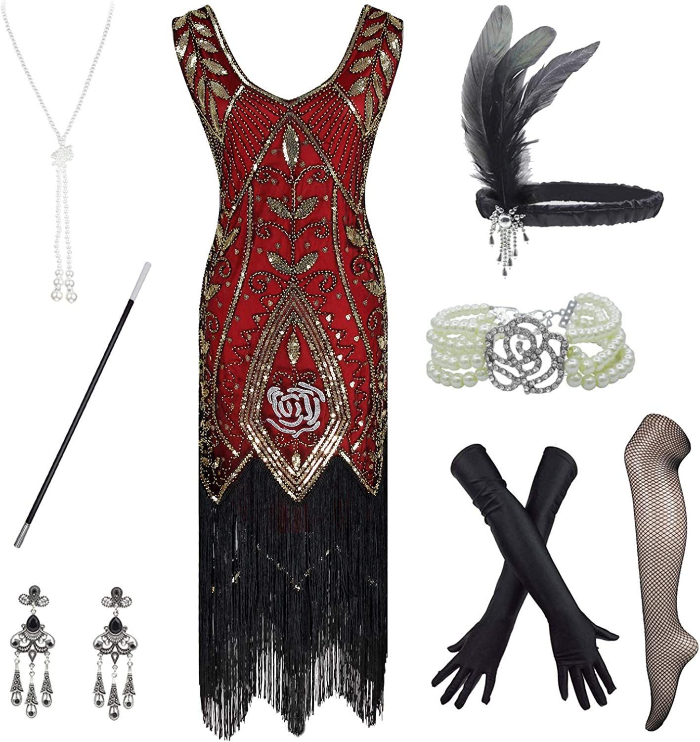 Women's Roaring 20s V-Neck Gatsby SEAL limited product Dresses Flapper Accessori with Regular store