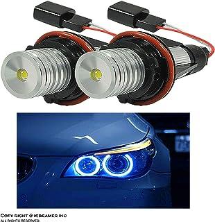 ICBEAMER for BMW E39 E53 E60 E61 E63 E64 E65 E66 E87 LED 12V 6W Blue Angel Eyes Halo Light Bulbs Lamps [Pack of 2 pcs]
