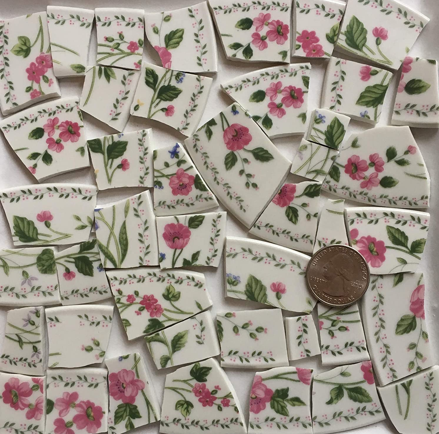 Mosaic Art & Craft Supply ~ Bright Pink Flowers on White China Tiles (T#978)
