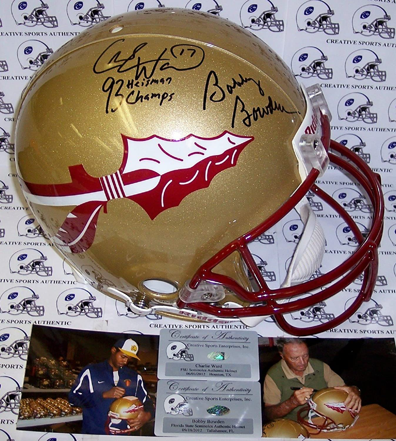 Bobby Bowden & Charlie Ward Hand Florida State Seminoles Authentic Helmet  PSA DNA