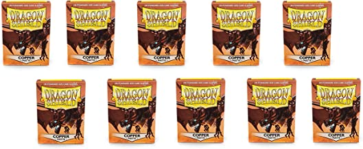 10 Packs Dragon Shield Matte Copper Standard Size 100 ct Card Sleeves Display Case