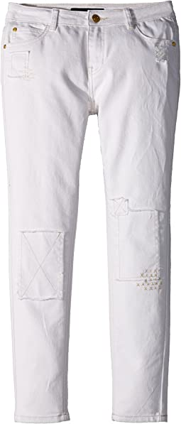 Tommy Hilfiger Kids - Fashion Patch & Repair Skinny Jeans in White (Little Kids/Big Kids)
